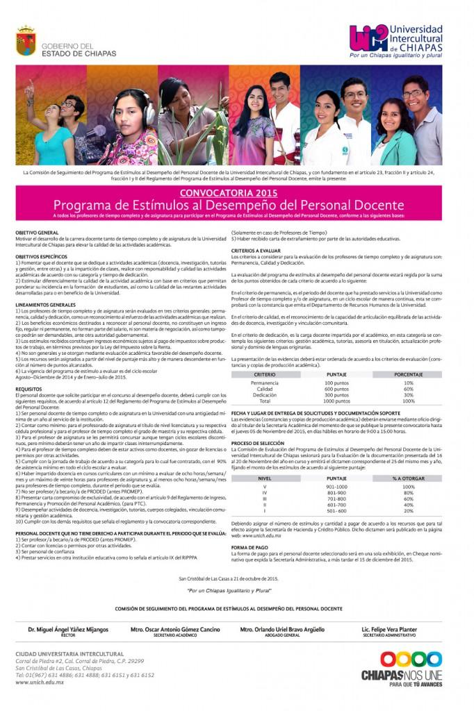 Programa de Estímulos al Desempeño del Personal Docente 2015