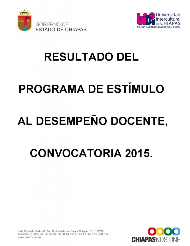 Resultado del Programa de Estímulos al Desempeño Docente, convocatoria 2015