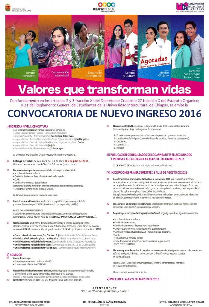 Convocatoria de nuevo ingreso 2016
