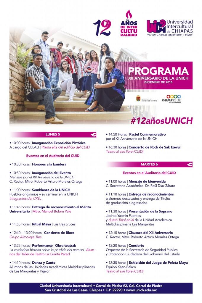 Programa del 12 Aniversario de la Unich