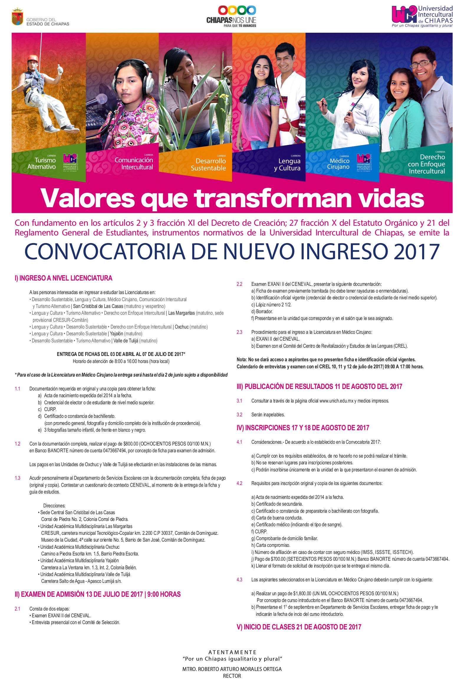 Convocatoria de nuevo ingreso 2017 for Convocatoria de docentes 2017