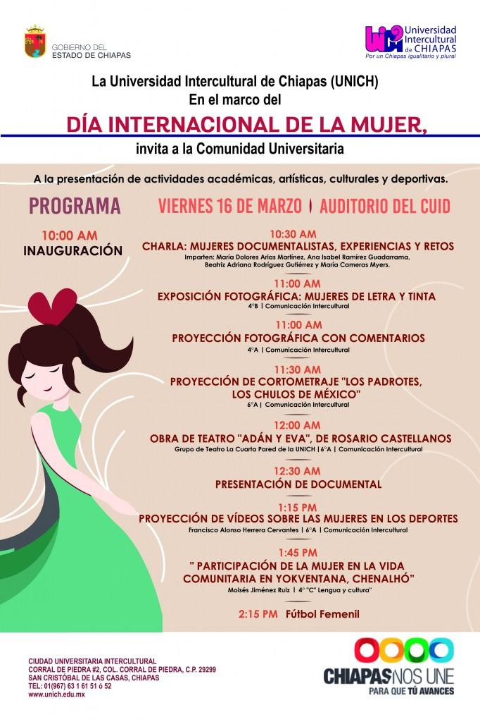 Actividades a realizarse en el marco del Día Internacional de la Mujer