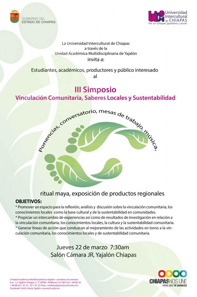 iNVITACIÓN AL III SIMPOSIO VINCULACIÓN COMUNITARIA, SABERES LOCALES Y SUSTENTABILIDAD