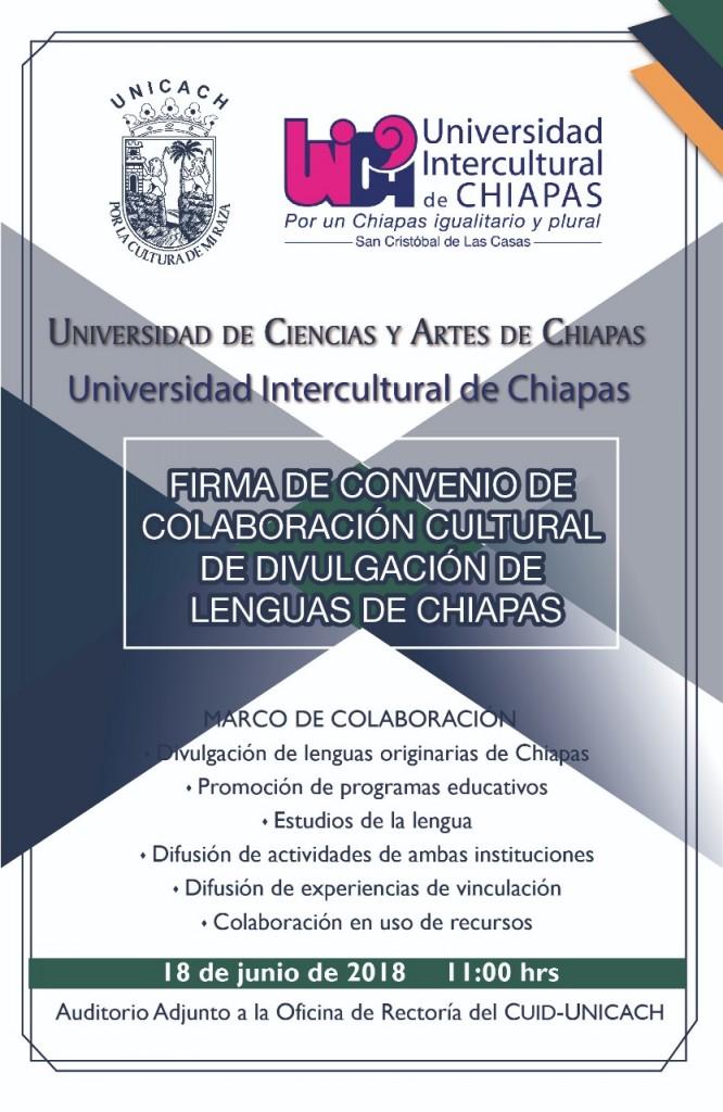 Convenio de colaboración UNICACH - UNICH