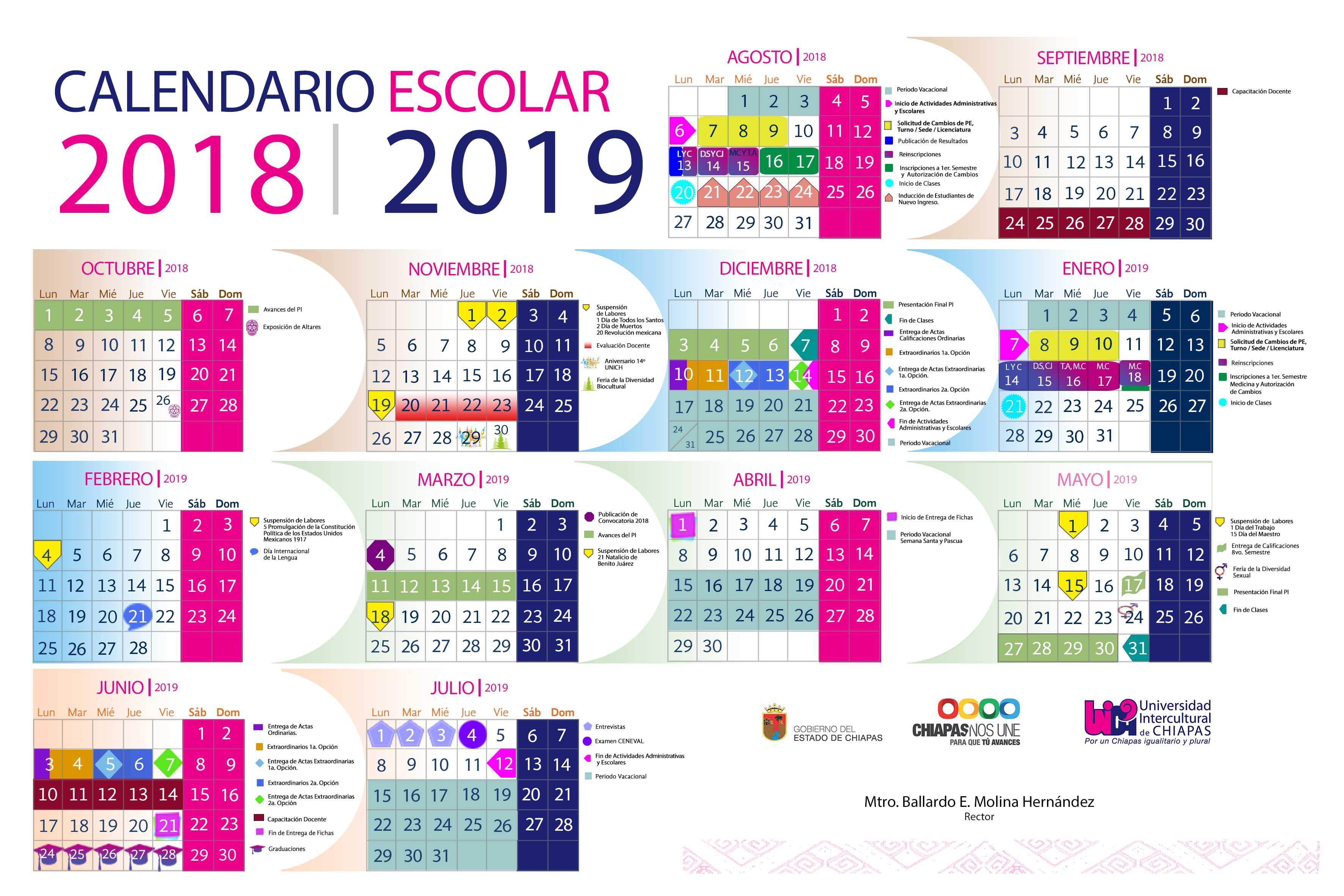CALENDARIO ESCOLAR_UNICH 2018•2019