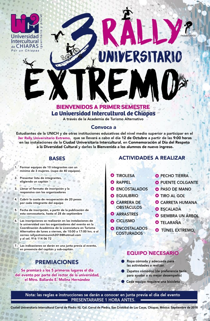 Forma tu equipo y participa en el 3er Rally Universitario Extremo