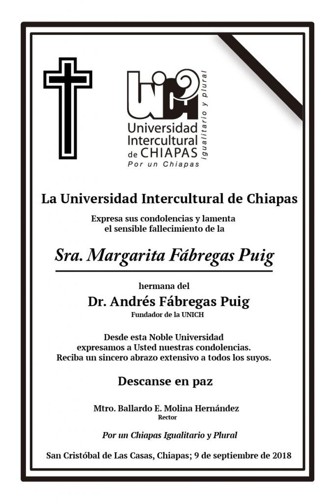 La Universidad Intercultural de Chiapas, lamenta el fallecimiento de la Sra. Margarita Fábregas Puig