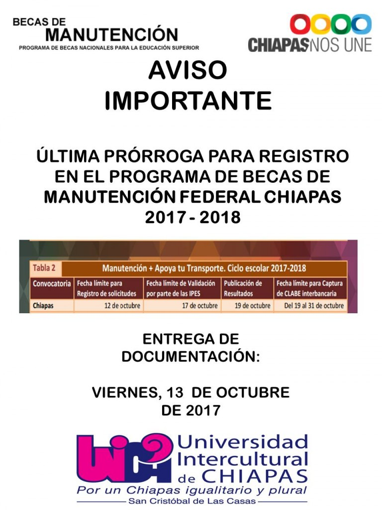 NOTIFICACION ULTIMA PR�RROGA MANUTENCI�N FEDERAL 2017 - 2018