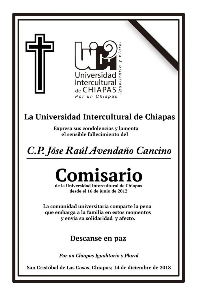 La Universidad lamenta el fallecimiento del Contador Público Raúl Avendaño