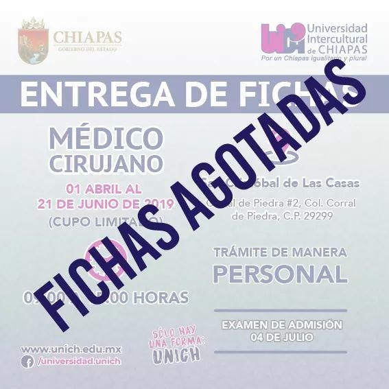 Fichas agotadas de la licenciatura en Médico Cirujano  #unich #solohayunaforma