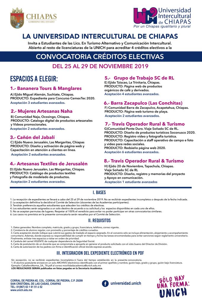 Convocatoria Créditos Electivas Dirigidos a estudiantes de la UNICH de todas las licenciaturas, pero específicamente a Turismo Alternativo y Comunicación Intercultural