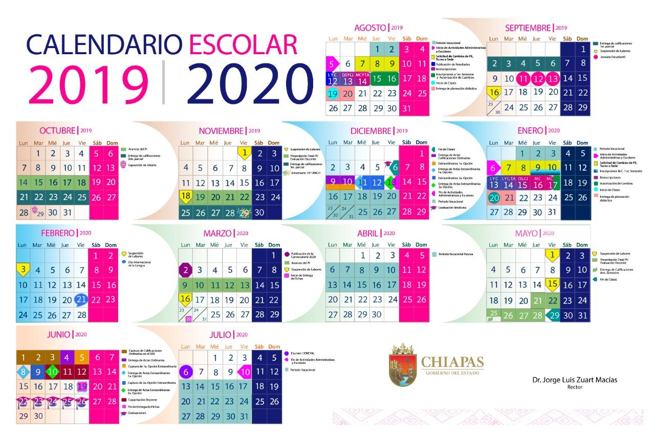 Calendario Escolar Enero julio 2020