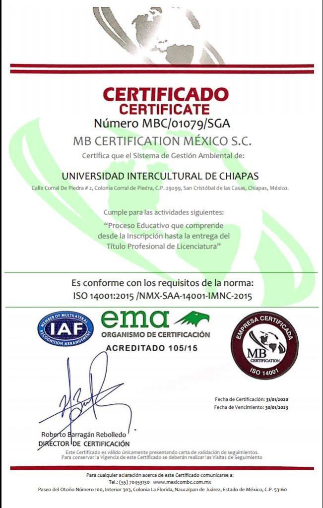 UNICH recibe certificación ISO 14001 y 45001