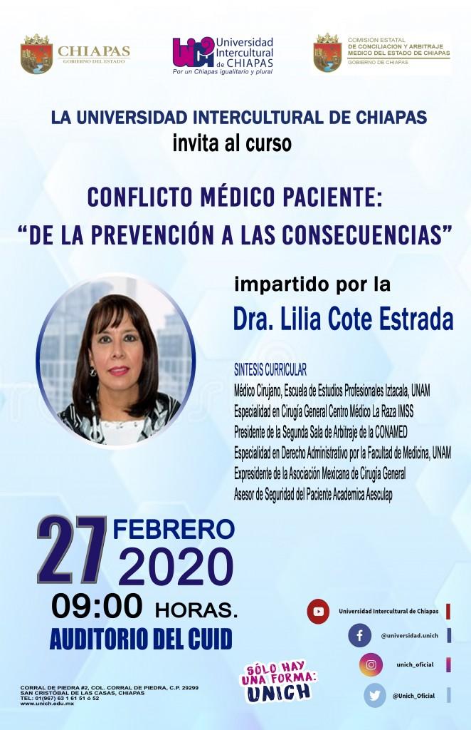 """Curso Conflicto Médico Paciente: """"de la prevención a las consecuencias"""", impartido por la Dra. Lilia Coto Estrada."""