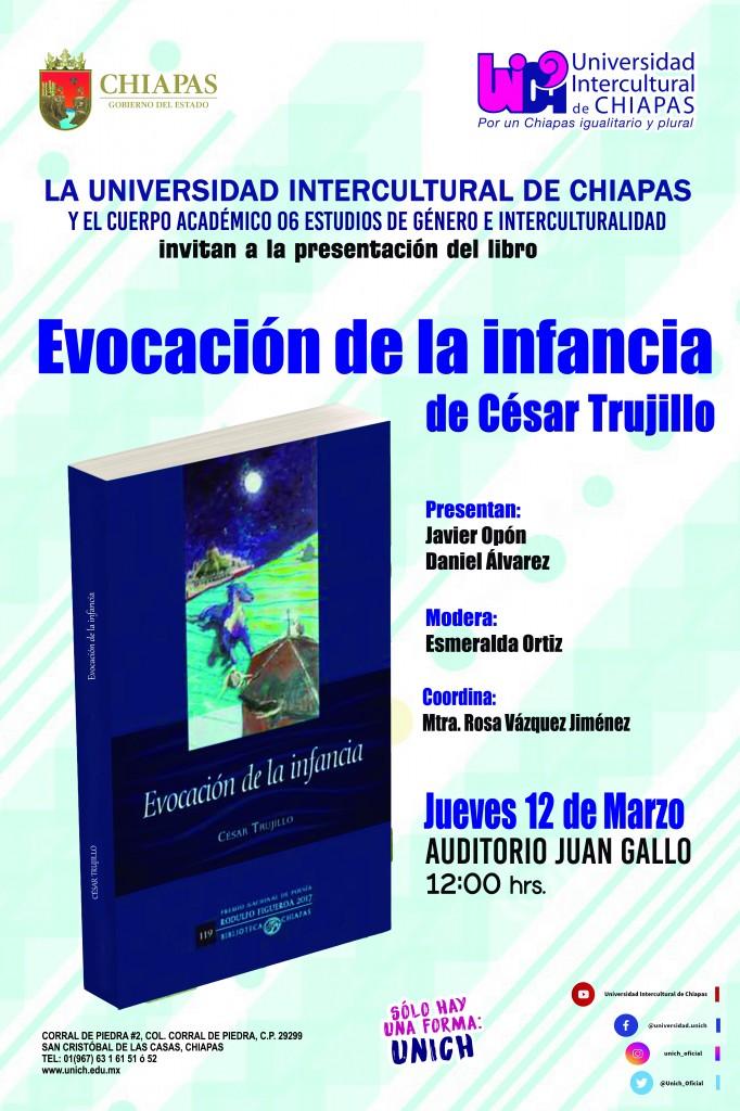 Presentación del Libro Evocación de la Infancia de César Trujillo. Jueves 12 de febrero 12 del día Auditorio Juan Gallo